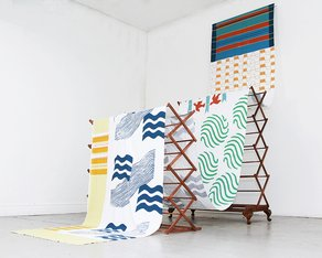 Artists' International Development Fund: Round 16 now open 'Hella, Arcadia to Dunoon', 2016, Screen print on cotton, wooden drying racks. © Jenny Steele