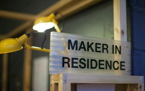 Machines Room Project: Maker Library Residencies  Maker In Residence sign at Machines Room