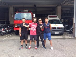 Charlie Evans: Designer in Residence at Taipei World Design Capital Charlie Evans in Taipei undergoing firefighting training as part of his research for WDC