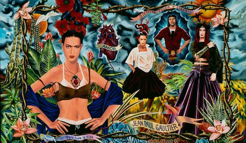 What's on in the UK, Ad campaign for the Tribute to Frida Kahlo collection, Women's prêt-à-porter spring/summer 1998; art direction by Jean Paul Gaultier and illustration by Fred Langlais