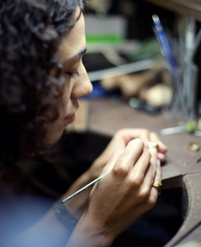 Turquoise Mountain Graduate's Showcase Melanie Eddy at work in Afghanistan