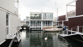 La Biennale di Venezia 2012 - Venice Takeaway  dRMM - Swan swimming amongst waterhouses, IJburg, Waterbuurt West, Amsterdam
