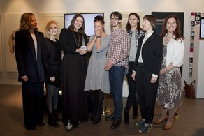 IFS: Estonia Winners!! (c) Agnese Sanvito - The Estonian designers and curator with their Cultural Attache Kristel Oitmaa and Sarah Mower, Caroline Rush and Vicky Richardson