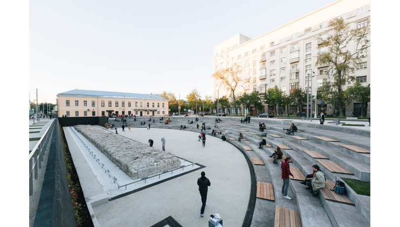 Event: Reclaiming the Streets - the future of public space in Russia Khokhlovskaya Square, which wasredesigned as part of the regeneration of Moscow'shistoric Boulevard Ring. The design byDjao-Rakitineprovides a new type of open space with the archaeological remains of the Belgorodskaya Wall.
