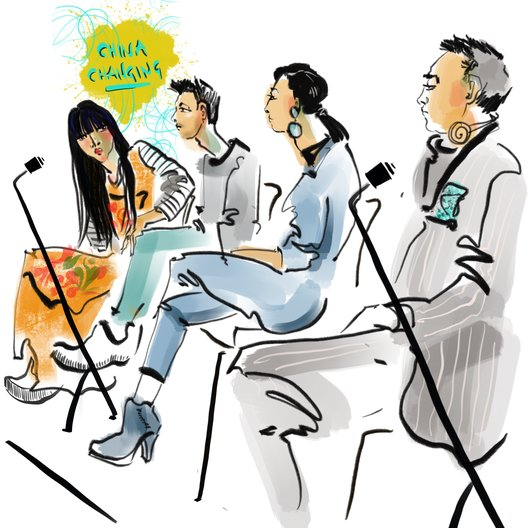 China Changing Fashion Forum  China Changing Fashion Forum panel. Illustration by Sue Dray
