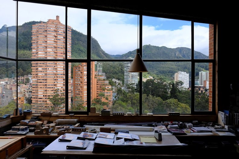 Torres del Parque from Rogelio Salmona's Office © Dominic Oliver Dudley