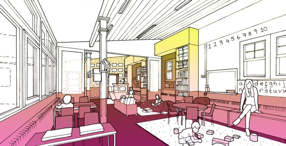 Design Sketch of the redesign of Rosemary Works Primary School, East London © Aberrant Architecture