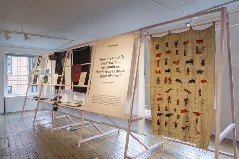 Community: Embroidered blanket from Myanmar depicting daily life of Chin people (right) © Agnese Sanvito