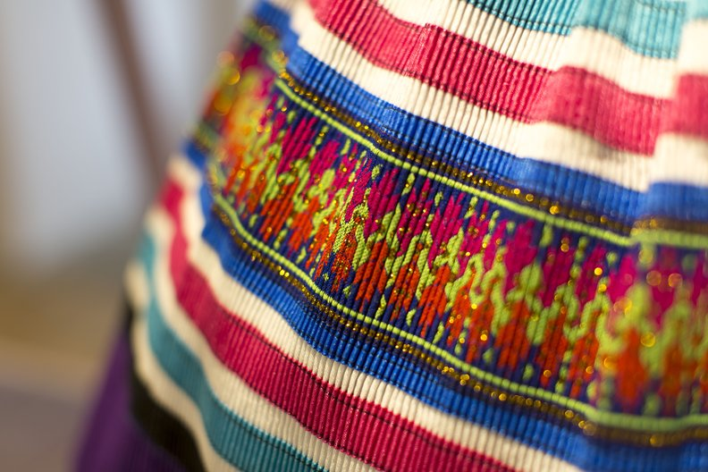 Commerce: Detail of synthetic skirt from Vietnam © Agnese Sanvito