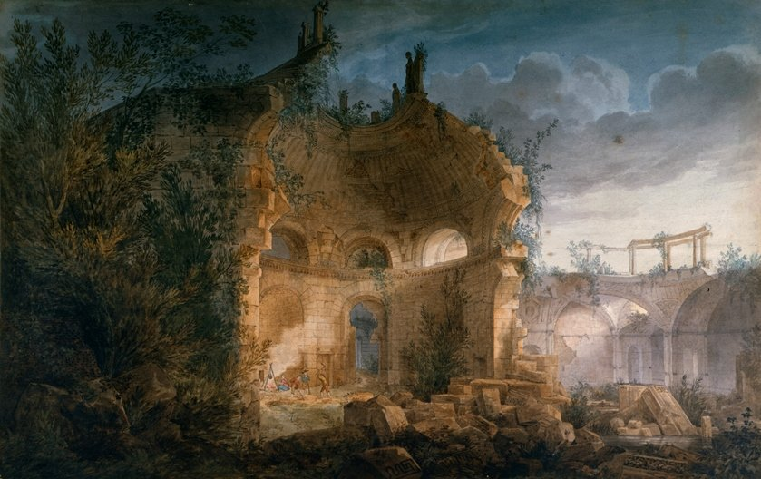 A Vision of Sir John Soane's Design for the Rotunda  of the Bank of England as a ruin Joseph Gandy,  1789, by courtesy of the Trustees of Sir John Soane's  Museum