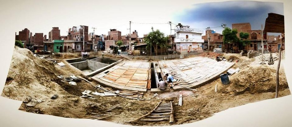 Decentralized sanitation infrastructure under construction in Savda Ghevra Resettlement Colony, New Delhi © Julia King