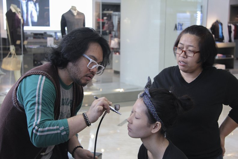 Hair and make up being done on set  Image courtesy British Council Indonesia
