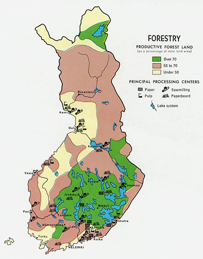 Finland is Europe's most heavily-forested country, a.k.a. the largest European 'carbon derivative' Source: Perry-Castañeda Library Map Collection, produced by the U.S. Central Intelligence Agency, Map No. 58419 1969