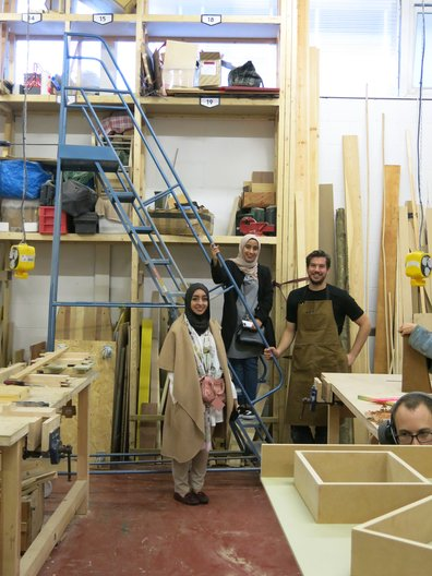 Noora and Fatima on a visit to James Gilpin's studio as part of the UK field trip  Courtesy Faculty