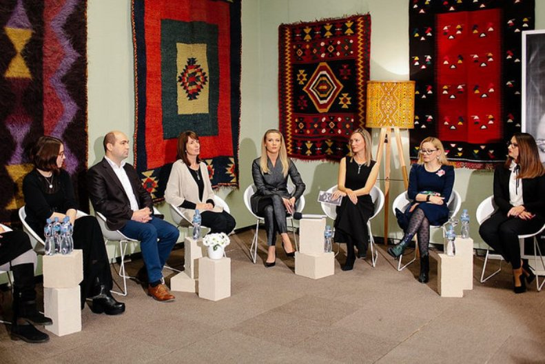 Partners from the Museum of Macedonia, EURM and Skopje Fashion Weekend  at the press conference within the museum galleries © Ani i Dimi