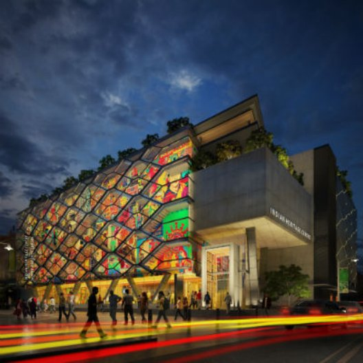 Indian Heritage Centre Facade at Night. Image courtesy of Greg Shand Architects.