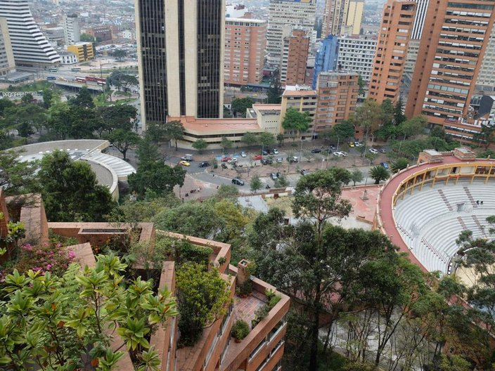 View from upper terrace to bull ring below, Torres del Parque © Freya Cobbin