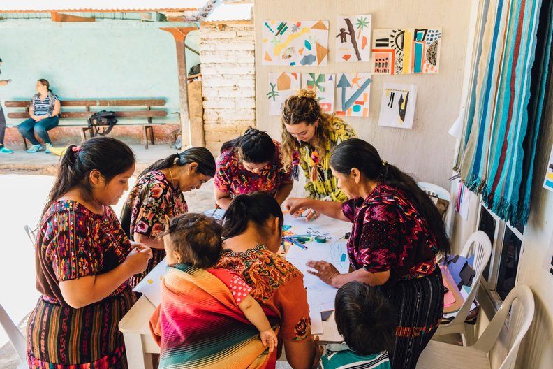 Nelly Rose working with weavers in Guatemala  Mariano Salazar