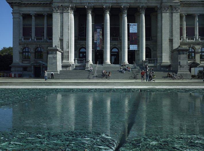 Cristina Iglesias. Deep Fountain. 1997-2006. Polychromed cement, resin, hydraulic mechanism and water. Leopold de Waelplaats, Antwerp. Kristien Daem