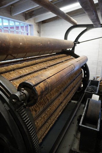 Visit to Knockando woollen mill, pictured teasels machine used to make the surface of the woven material fuzzier