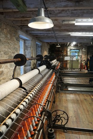 Visit to Knockando woollen mill which still uses machinery dating from 1870