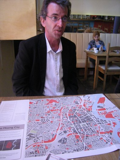 Declan Hill - one of the FAB founders describing it's Missing City project. Photo Vicky Richardson