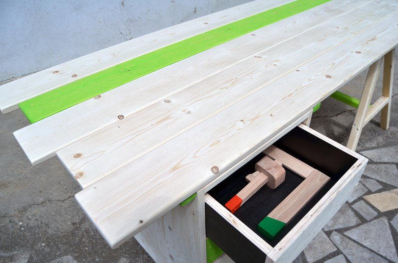 The bench with drawer and tools from the wood group. Image courtesy Zarko Koneski