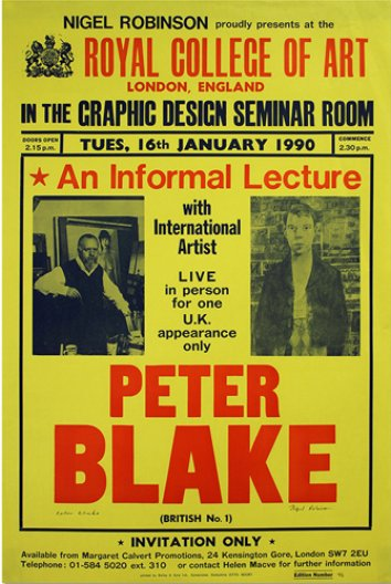 Nigel Robinson, poster for a lecture by Peter Blake, 1990