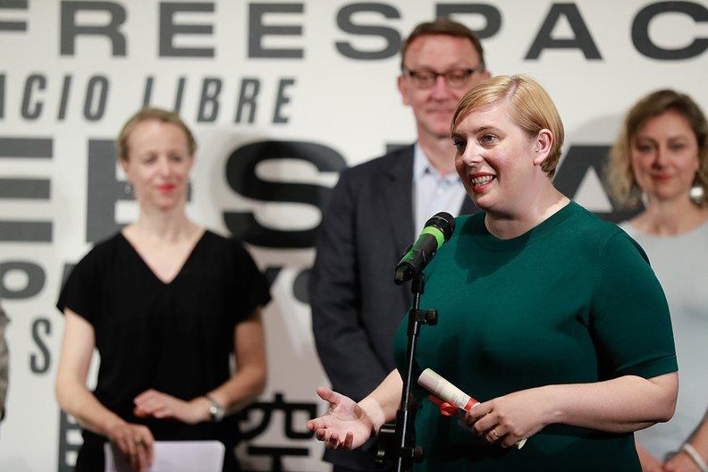 Sarah Mann, Commissioner of the British Pavilion makes her acceptance speech Jacopo Salvi, courtesy La Biennale di Venezia