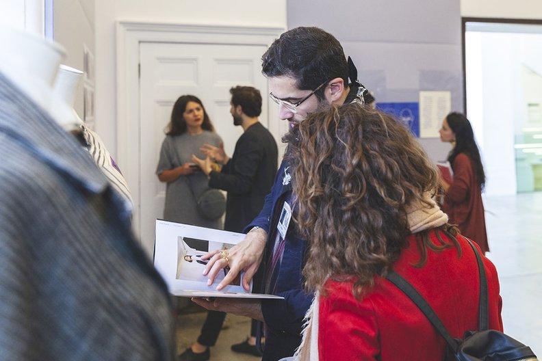 Faissal El Malak presenting his designs at the V&A Victoria and Albert Museum