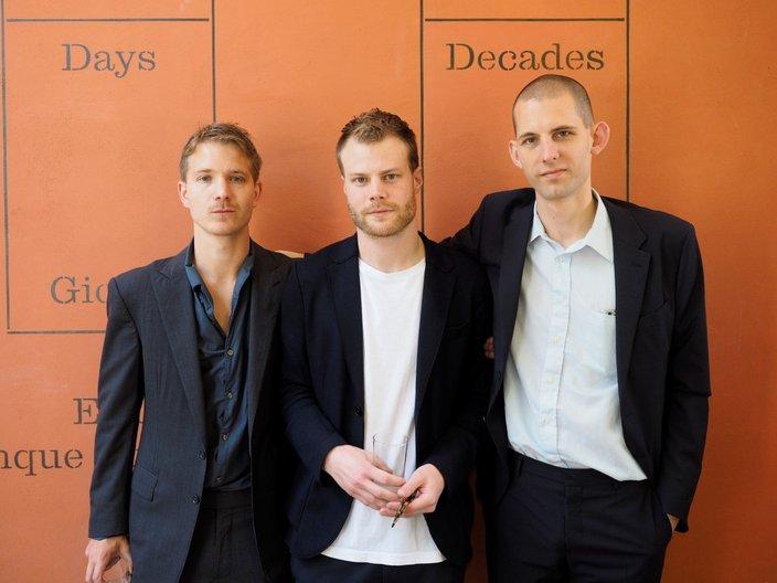 Exhbition designers Jesper Henriksson, Martin Brandsdal of Hesselbrand and curator Jack Self © Cristiano Corte