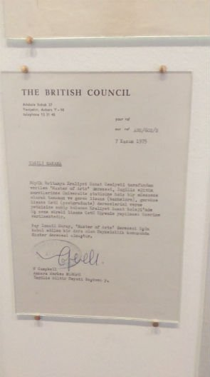 A letter from the British Council in SALT Galata Niamh Tuft