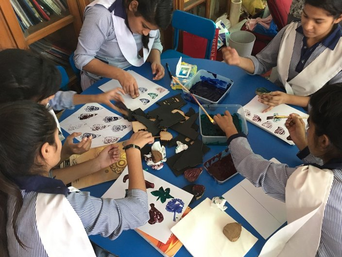 'Pupils experiment with pattern and block printing at Sanjan Nagar High School, Lahore'   Photograph courtesy Pidgin Perfect