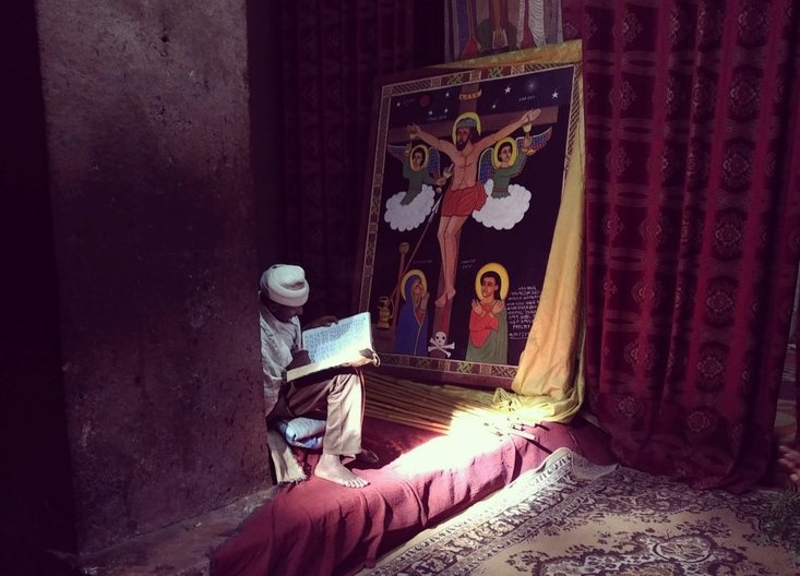 Inside one of the Churches of Lalibela © Owen Wainhouse