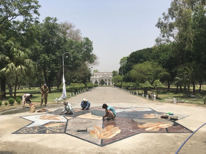 'Water jet cut marble and onyx pieces ready for installation on site at Bagh-e-Jinnah, Lahore'   Photograph courtesy Pidgin Perfect