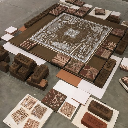'There Are So Many Things Happening Here' Ramesh and Rasika Hengadi and Joanne Ayre, canvas, cow dung, acrylic, clay, ceramic tiles, made in Jaipur, 2018