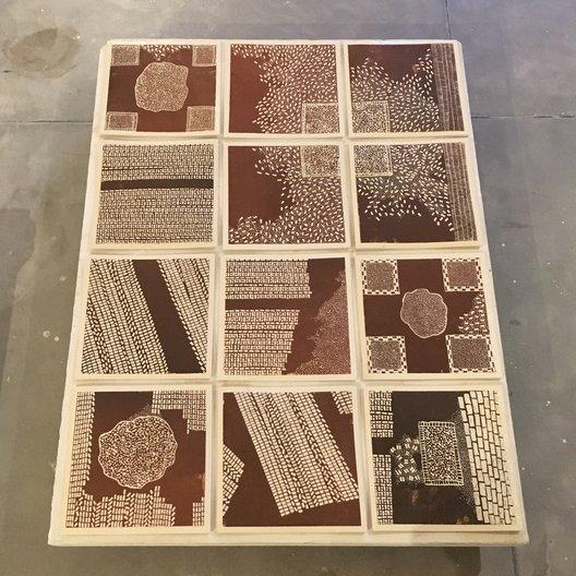 'Tile Panel', Joanne Ayre, Ramesh and Rasika Hengadi, slip-trailed earthenware tiles, made in Jaipur, 2018