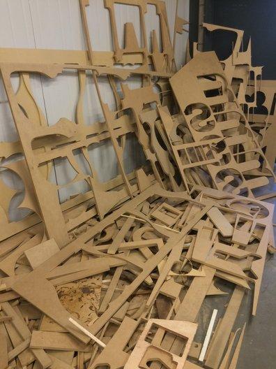 CNC leftovers at Centro Metropolitano de Diseño Photo by João Guarantani