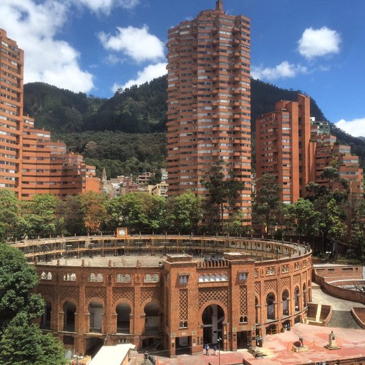 Rogelio Salmona's Torres del Parque and Bogota's Plaza de Toros, seen from the office of Sociedad Colombiana de Arquitectura photo by João Guarantani