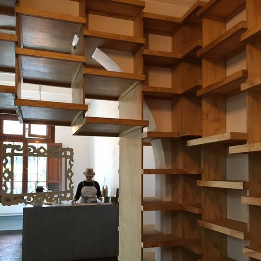 Babel bookshop under construction, designed by 51 1 Arquitectos photo by João Guarantani