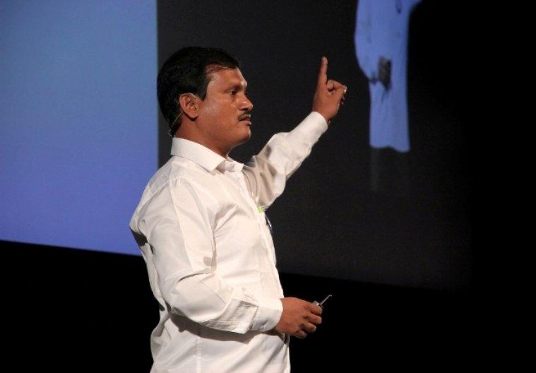 Arunachalam Muruganantham presenting at Kyoorius DesignYatra. Photo: Deepak Prakash Verma