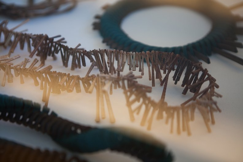 Paper, bark and bamboo jewellery by Scottish designer Naomi Mcintosh  Photograph by Beth Chalmers