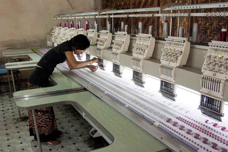 Computer embroidery workshop in Mandalay, Myanmar. Photo by Sandra Sordini