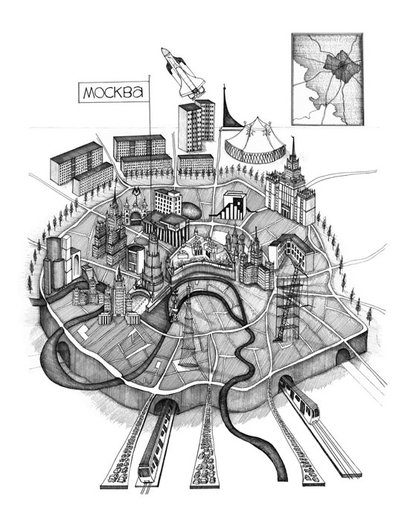 Anna Gibb - Moscow, drawing by Gibb, 2012