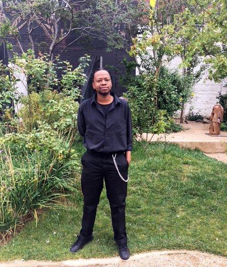Unathi Mkonoto in The Cosmopolitan gardens, Johannesburg  © Alison Moloney