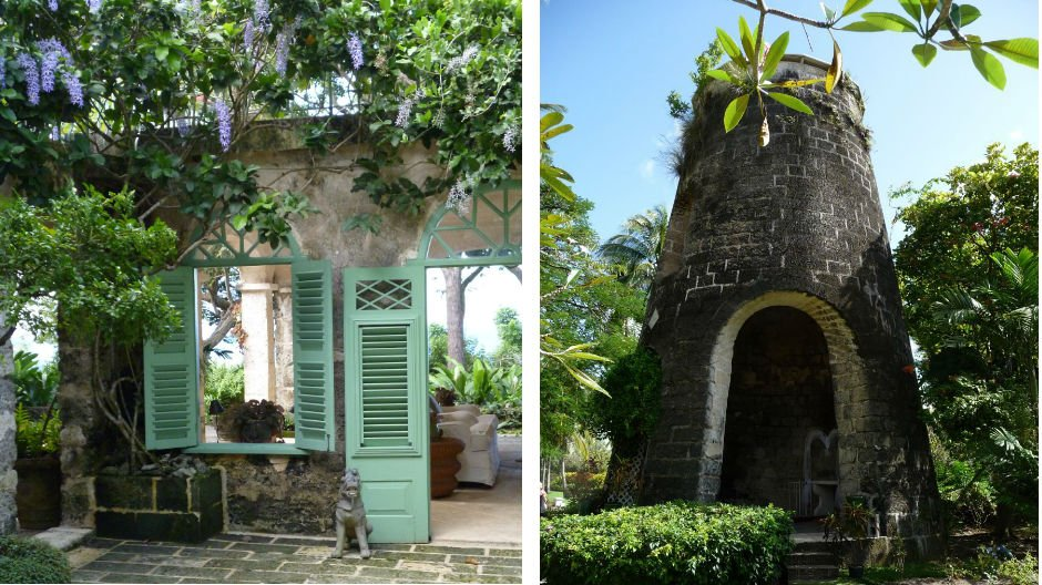 From left: Oliver Messel's Fustic House in Barbados; an old Sugar Mill