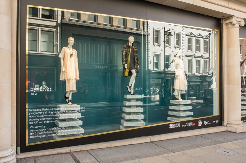 Indonesia Fashion Forward pop-up shop and windows at Fenwicks