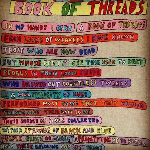 Book of Threads by Donald S Murray ( Weaving songs)  Hand Embroidery on Harris Tweed.