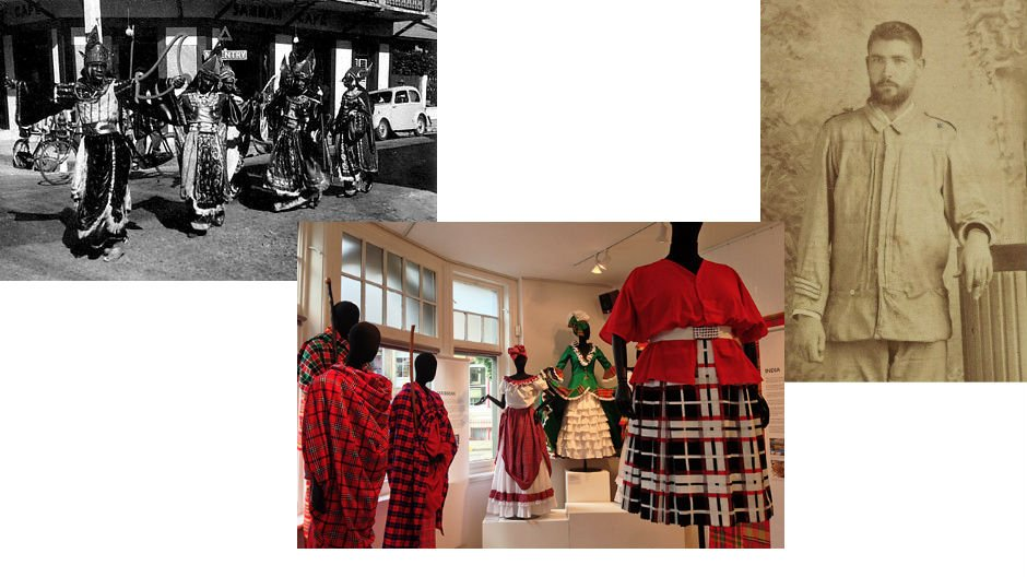 From left: Carnival, Port of Spain, early 1950s; Exhibition view Tartan: Its Journey through the African Diaspora;  man wearing guayabera shirt Cuba c.1897. From left: Ted Hill; CIAD; HistoryMiami