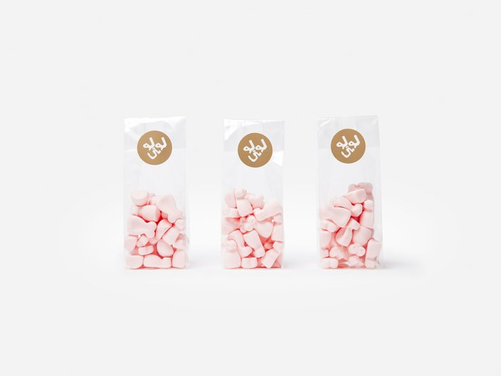 Candies, plastic, hot gold foil stickers, 55 x 40 x 170 mm © benjamin loyauté studio / photography by Sven Laurent